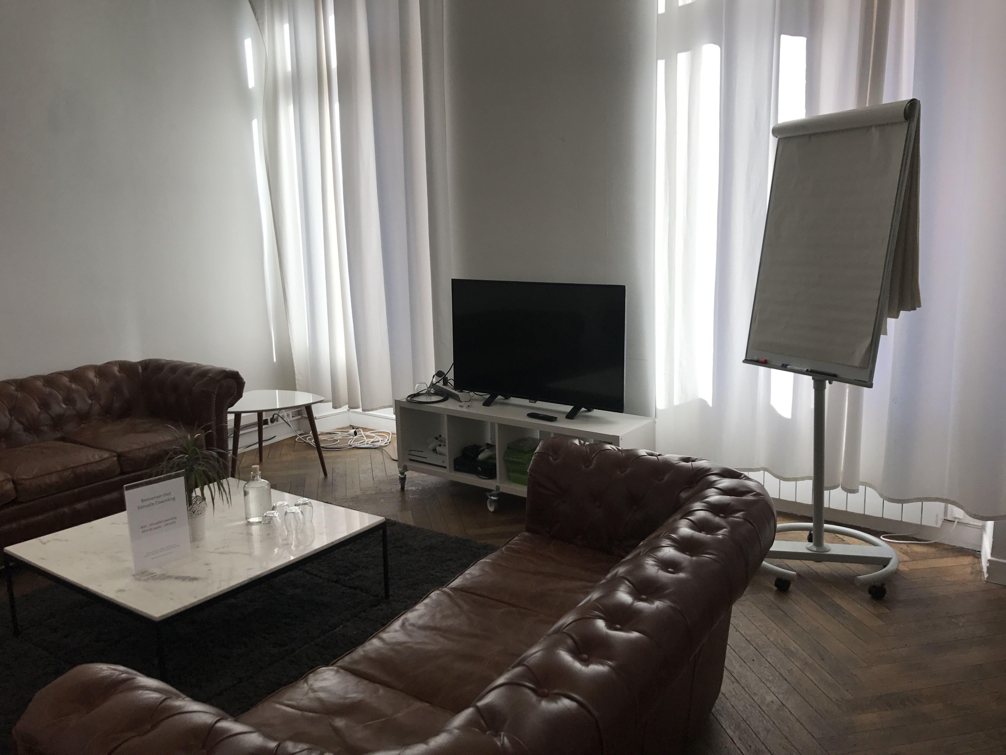 L'autre canapé avec la bibliothèque et la télévision
