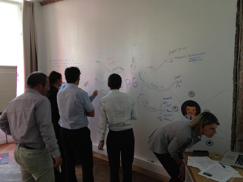 Le tableau blanc géant est particulièrement adapté pour le travail collaboratif